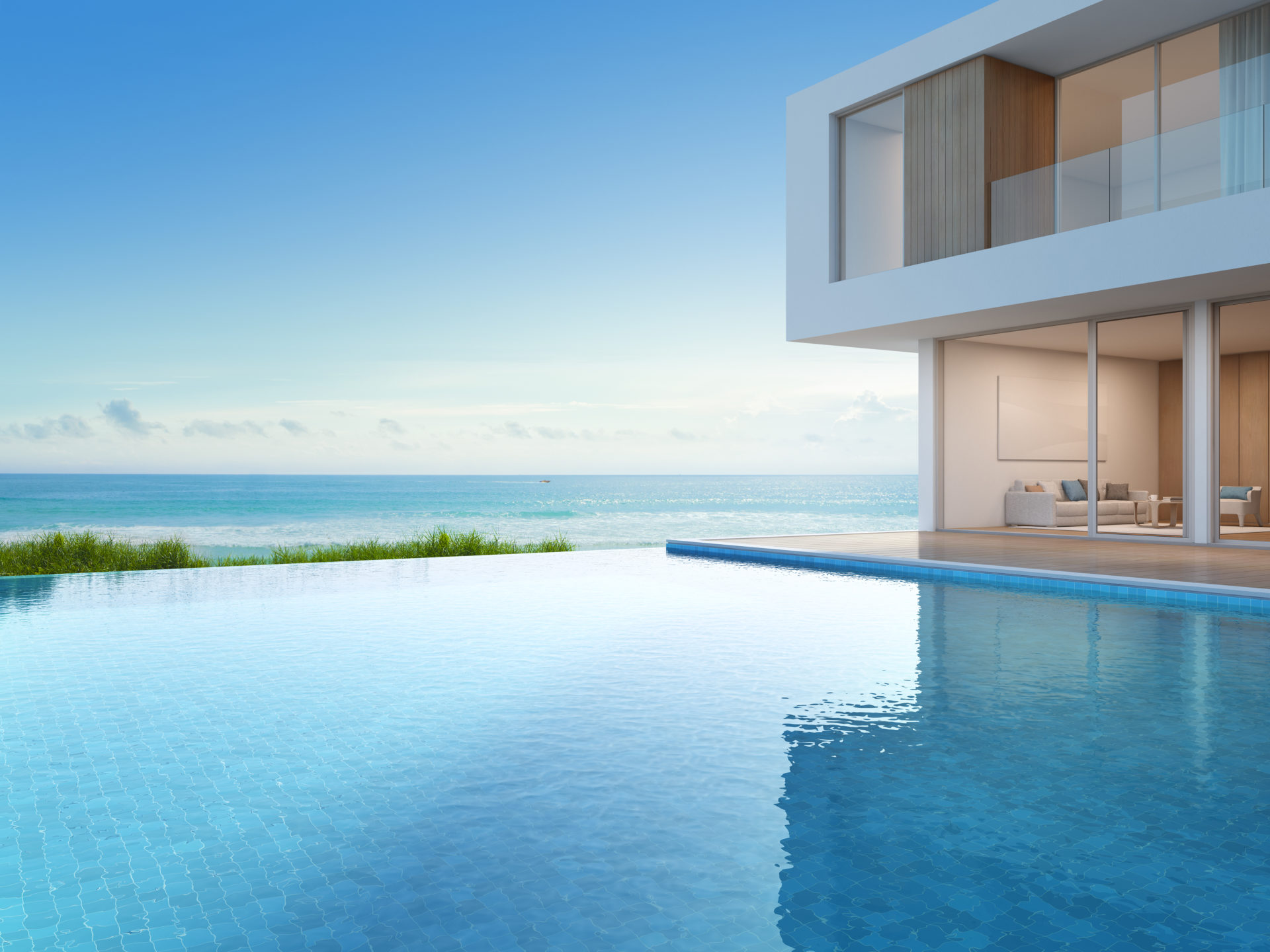 Luxury beach house with sea view swimming pool in modern design, Vacation home for big family